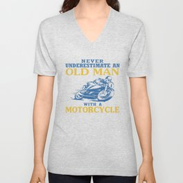 OLD MAN WITH A MOTORCYCLE Unisex V-Neck