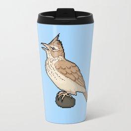 Pixel / 8-bit Crested Lark Travel Mug