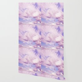 Pink Clouds In The Blue Sky #decor #society6 #buyart Wallpaper
