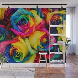 Rainbow Roses Wall Mural