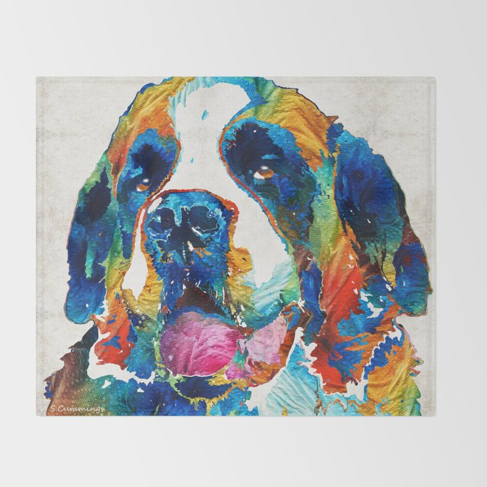 Colorful Saint Bernard Dog by Sharon Cummings Throw Blanket
