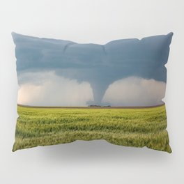 Behind the Scene - Large Tornado Passes Safely Behind a Farmhouse in Kansas Pillow Sham