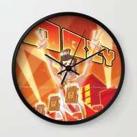 obey Wall Clocks featuring Obey by Dr.Ink Maniac Division
