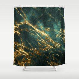Glamorous Green Faux Marble Pattern With Gold Veins Shower Curtain