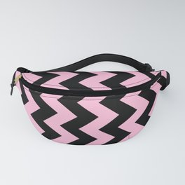 Black and Cotton Candy Pink Vertical Zigzags Fanny Pack