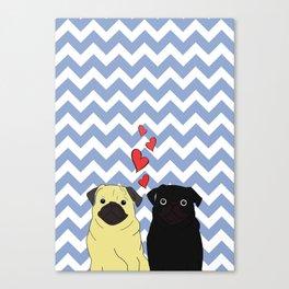 Chevron Pug Canvas Print