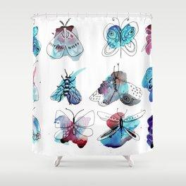 blue watercolor butterflies Shower Curtain
