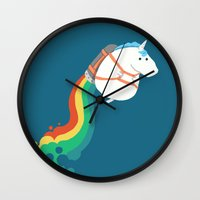 unicorns Wall Clocks featuring Fat Unicorn on Rainbow Jetpack by Picomodi