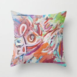 Love Grafitti Throw Pillow