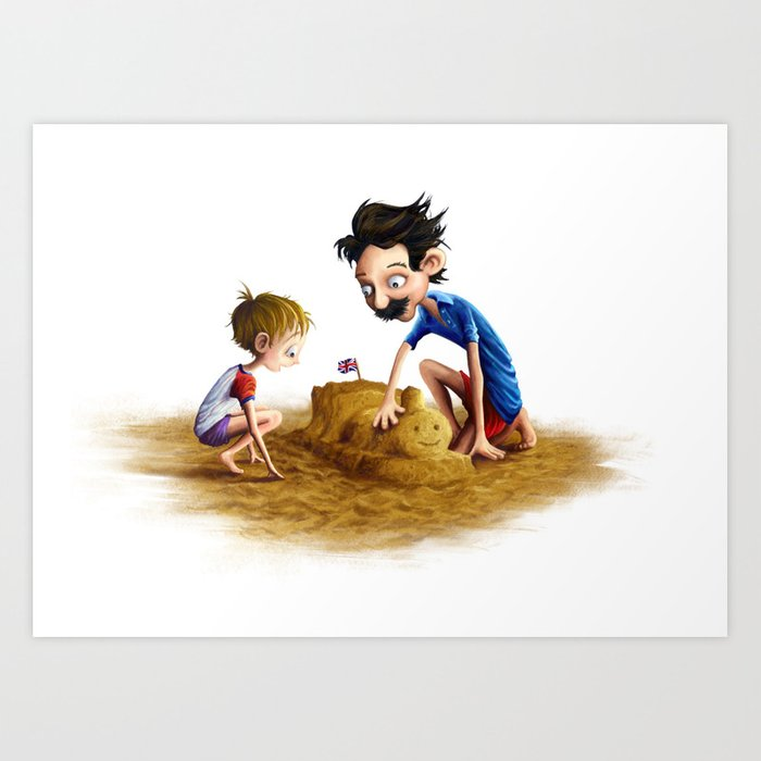 Father and Son at the Beach Art Print