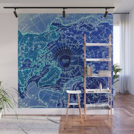 North Pole Neon Map Wall Mural