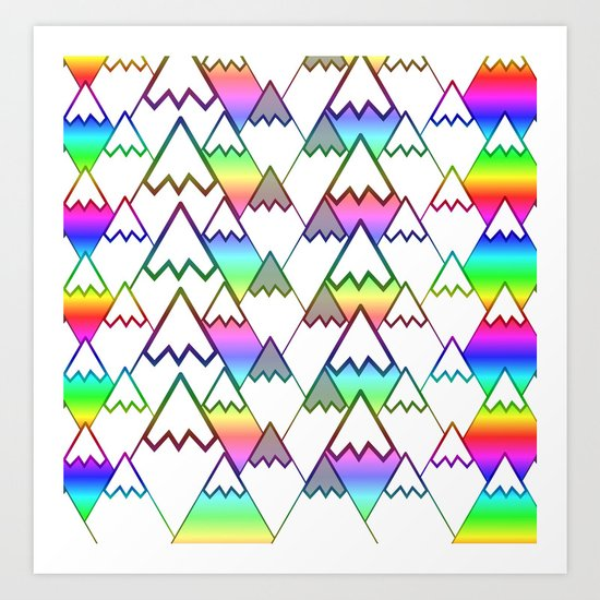 Colorful mountain tops Art Print