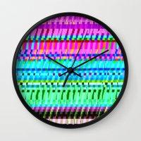 glitch Wall Clocks featuring glitch by Valeria Prada