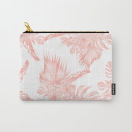Tropical Hibiscus and Palm Leaves Coral White Carry-All Pouch