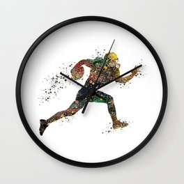 American Football Player Watercolor Silhouette Wall Clock