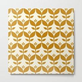 Golden retro tulip floral Metal Print
