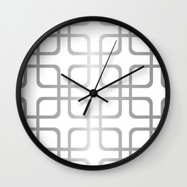 Silver Metallic Geometric Rounded Squares Wall Clock