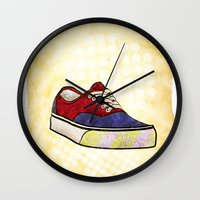 vans Wall Clocks featuring Man I Need Vans - Classic Sneaker Icon by Dave Conrey