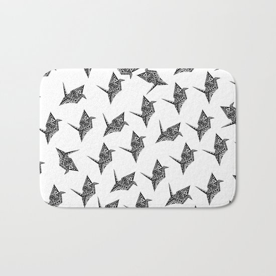 Paper Crane Bird Origami Doodle Bath Mat