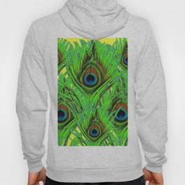 YELLOW-GREEN PEACOCK FEATHERS ABSTRACT ART Hoody