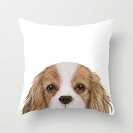 Cavalier King Charles Spaniel Dog illustration original painting print Throw Pillow