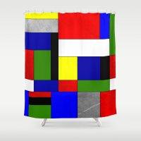 mondrian Shower Curtains featuring Mondrian #4 by Ron Trickett (Rockett Graphics)