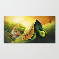 neil young Canvas Prints featuring Tortoise and the Hare, by Neil Price by Neil Price