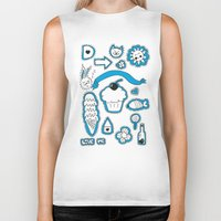 sticker Biker Tanks featuring Sticker World by Duru Eksioglu