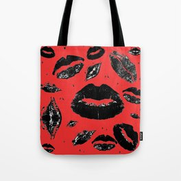 Kisses All Over (Black & Red) Tote Bag