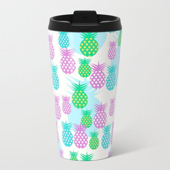 Tropical pineapples Metal Travel Mug