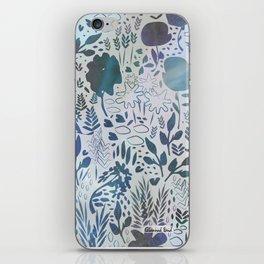 Blue Watercolour Meadow iPhone Skin