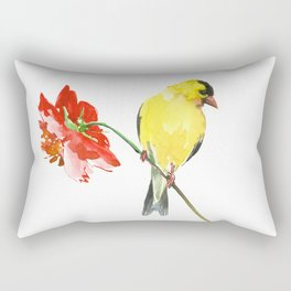 American Goldfinch and Red Flower Rectangular Pillow