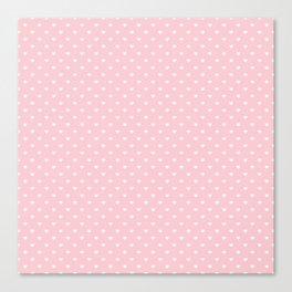 Mini White Love Hearts on Millennial Pink Pastel Canvas Print