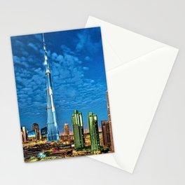 Burj Khalifa Skyscraper Dubai United Arab Emirates (UAE) City Lights Portrait Stationery Cards