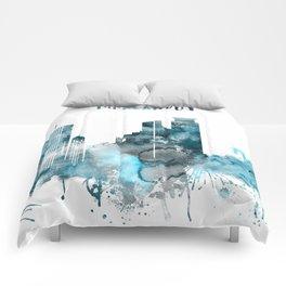 Minneapolis Monochrome Blue Skyline Comforters