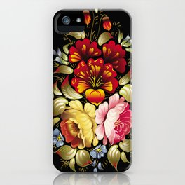 Russian Khokhloma painting iPhone Case