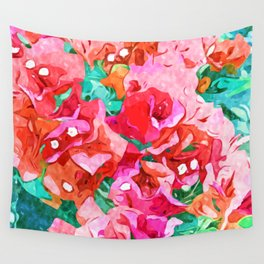 Wild Bougainvillea, Bloom Summer Floral Bohemian Pop of Color Botanical Jungle Watercolor Painting Wall Tapestry