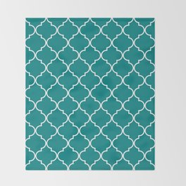 Quatrefoil - Teal Throw Blanket