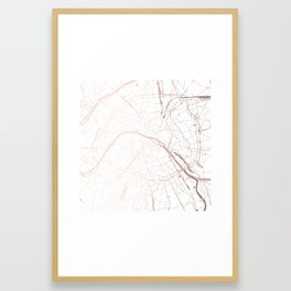 Paris France Minimal Street Map - Rose Gold Glitter Framed Art Print