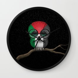 Baby Owl with Glasses and Palestinian Flag Wall Clock