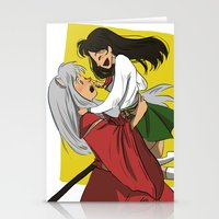 inuyasha Stationery Cards featuring Inuyasha and Kagome by Lara Pickle