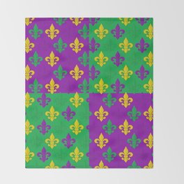 Mardi Gras Fleur-de-Lis Pattern Throw Blanket