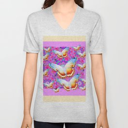 EXOTIC ORIENTAL BUTTERFLIES PINK-YELLOW ART Unisex V-Neck