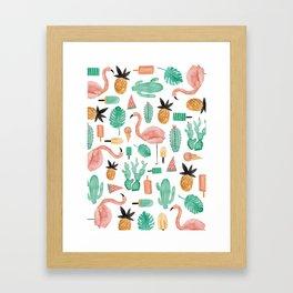 Flamingo Love Framed Art Print