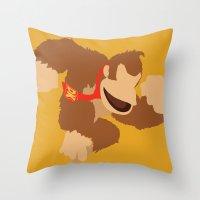 donkey kong Throw Pillows featuring Donkey Kong(Smash) by ejgomez