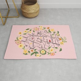 And though she be but little she is fierce (Floral MK BlackText) Rug
