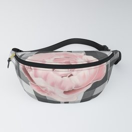 Buffalo Plaid In Gray Plaid Bow With Pink Peony Fanny Pack