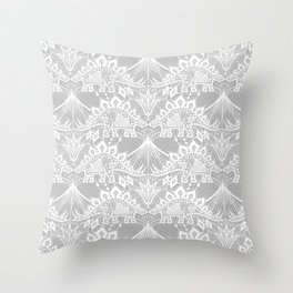 Stegosaurus Lace - White / Silver Throw Pillow