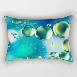 Macro Water Droplets  Aquamarine Soft Green Citron Lemon Yellow and Blue jewel tones Rectangular Pillow