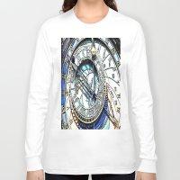 prague Long Sleeve T-shirts featuring Prague Clock by arnedayan